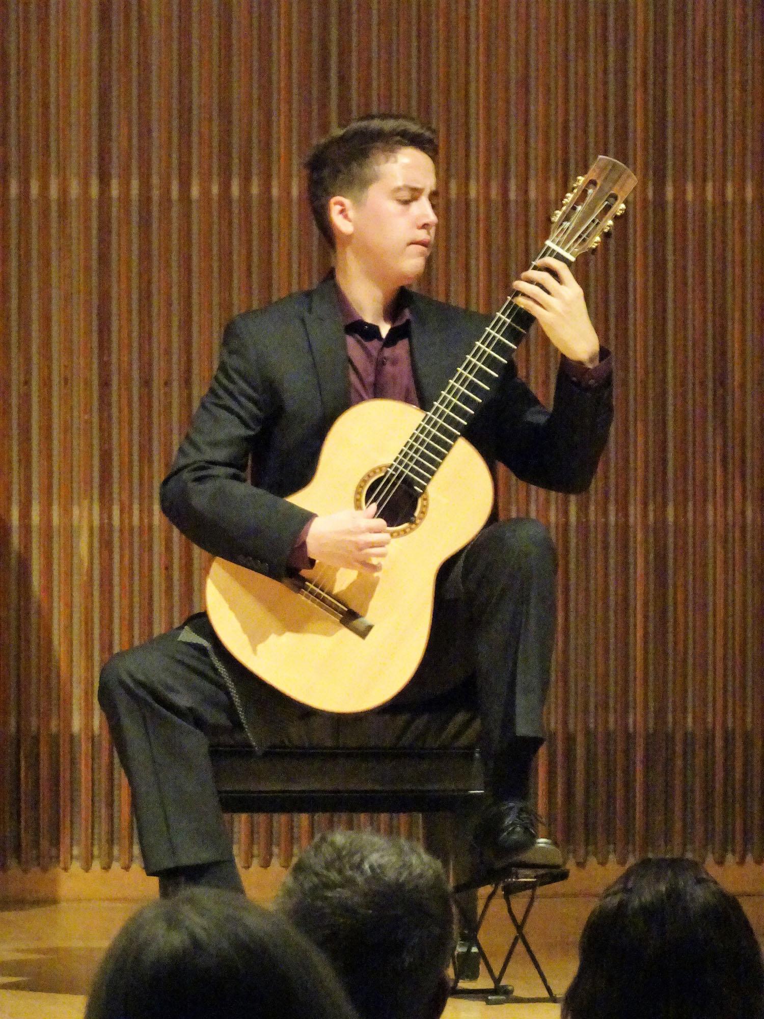 Xavier Jara on stage in Kulas Recital Hall