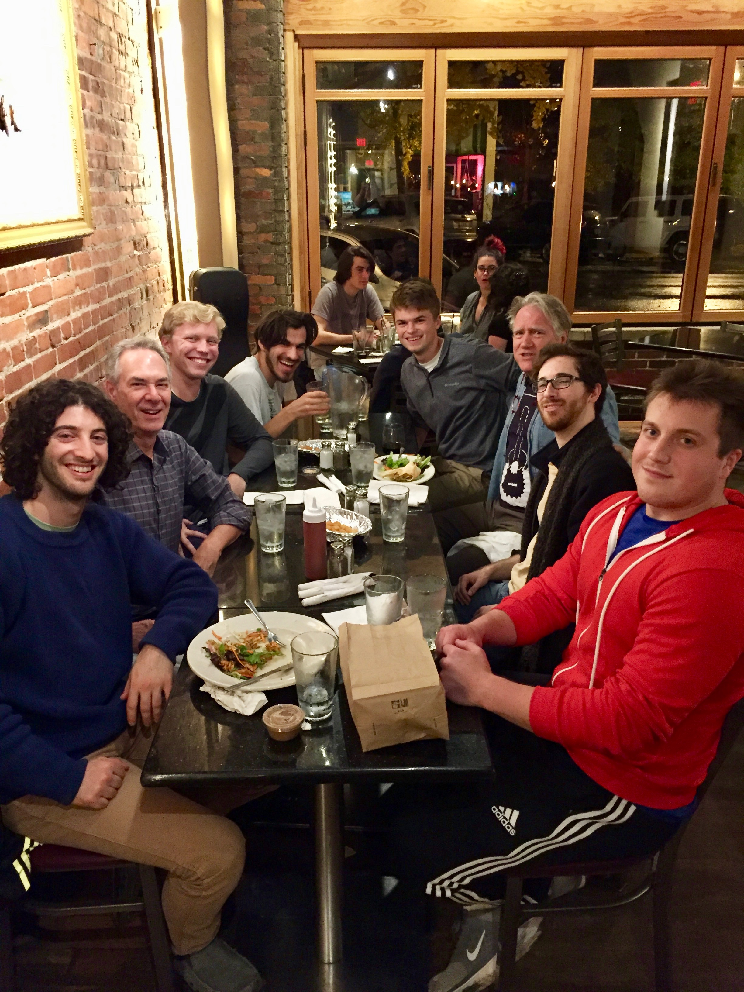 At our customary after-hours hang, the Feve. Left-to-right: Philip Lutz '15 (visiting), Stephen Aron, Aidan Wiley Lippke, Mohit Dubey, Craig Slagh, Benjamin Verdery, Brian King and Stephen Fazio.