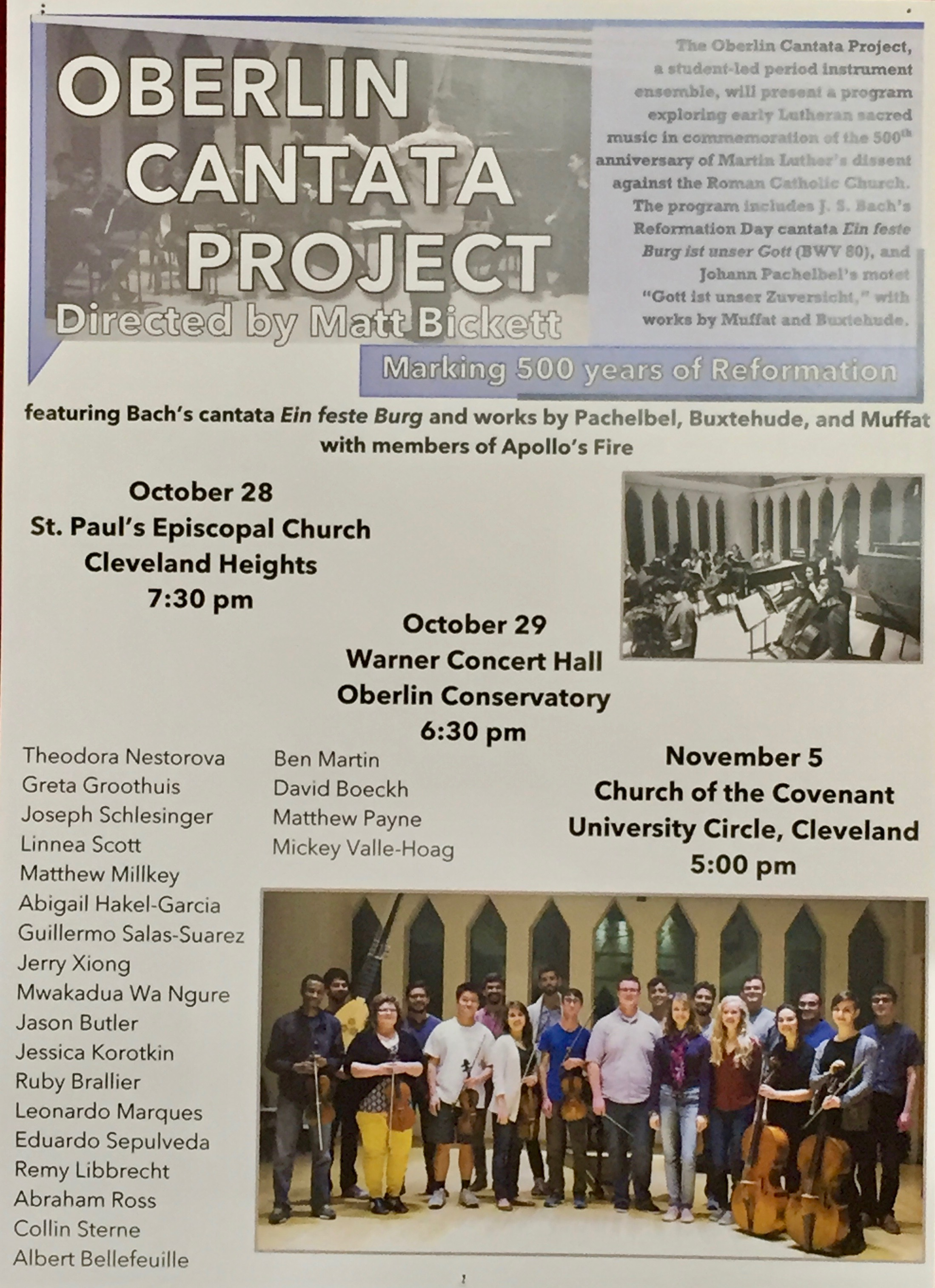 The Cantata Project poster. Collin is second from left.