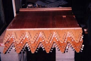 "Adam's home-built replica of microtonal composer Harry Partch's ""Harmonic Canon"""