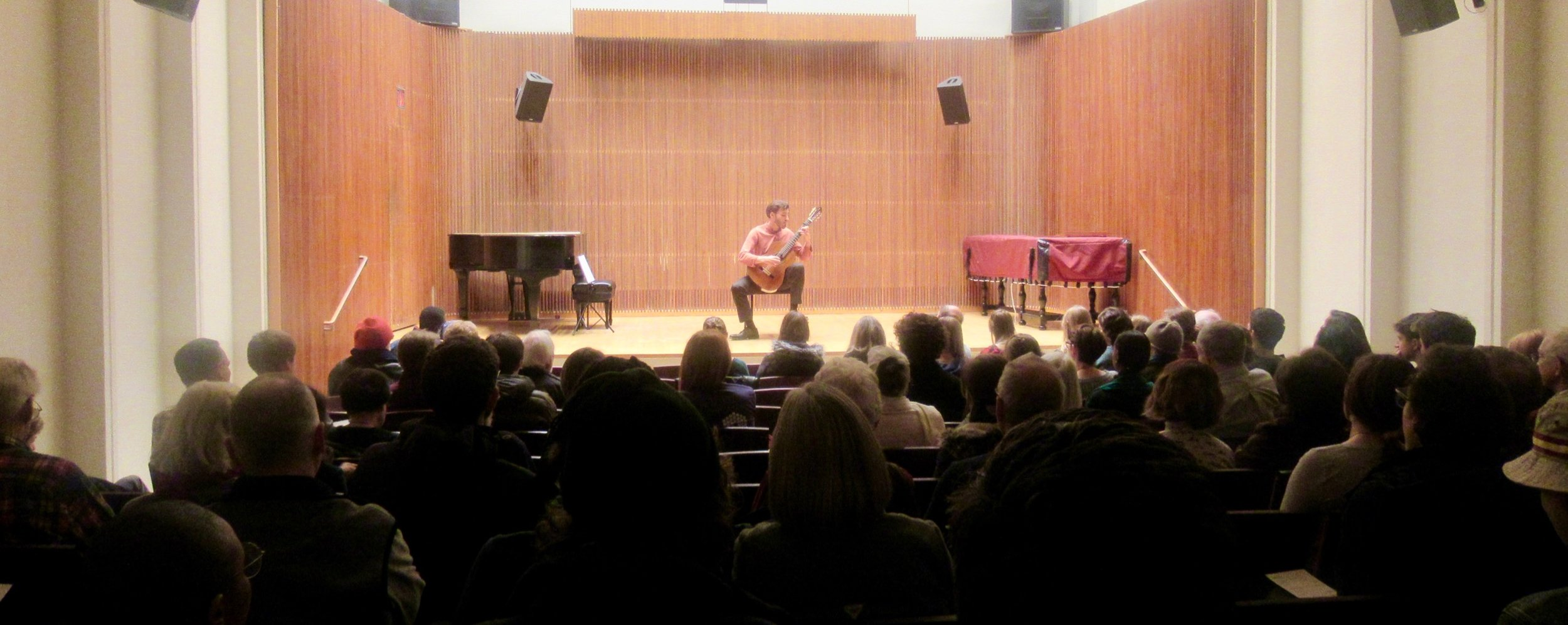 Mohit plays for a full house in Oberlin Conservatory's Kulas Recital Hall.