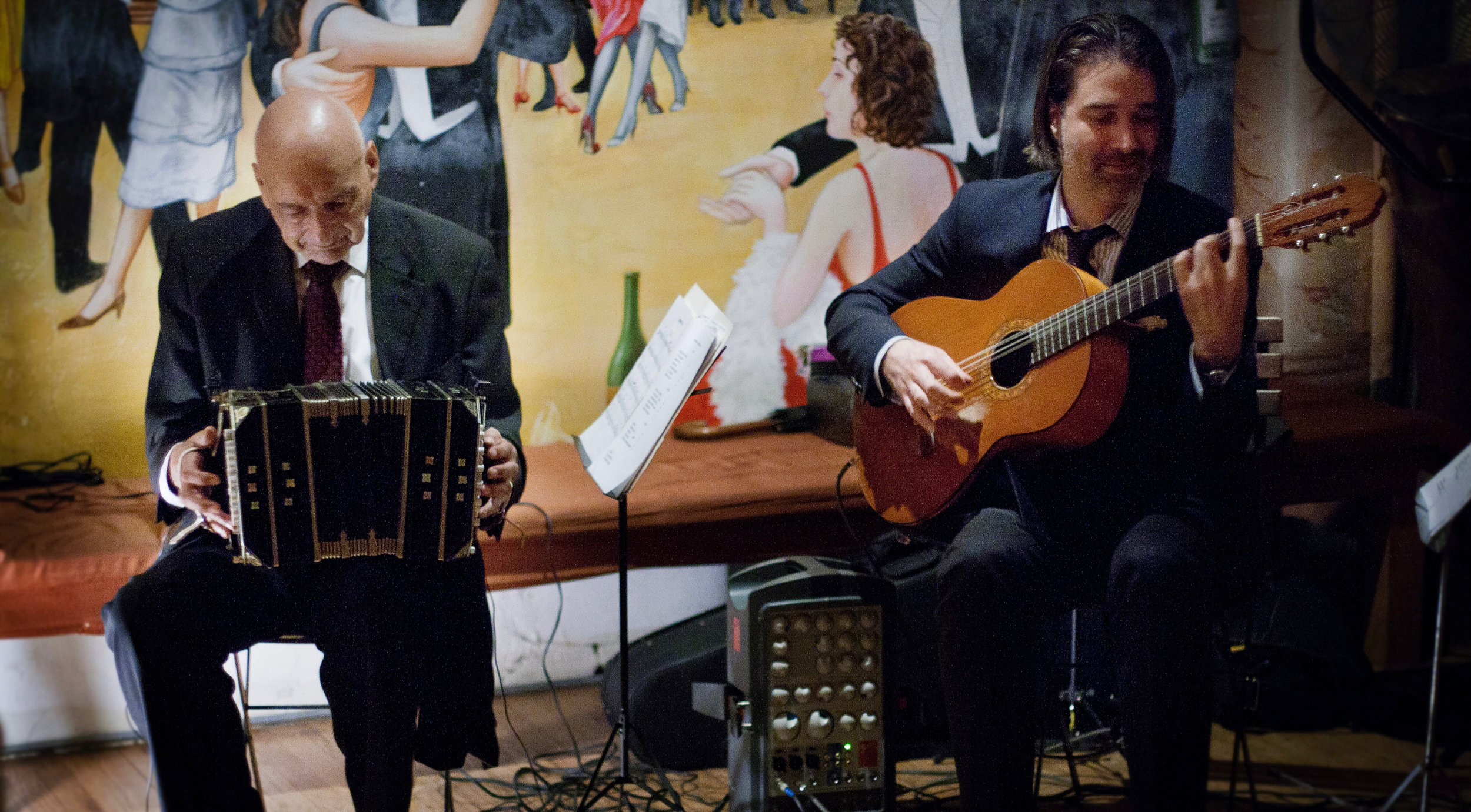 2014 - New York. Bandoneonist Tito Castro was one of the first tango musicians I ever played with. Here we are accompanying a milonga (tango social dance).