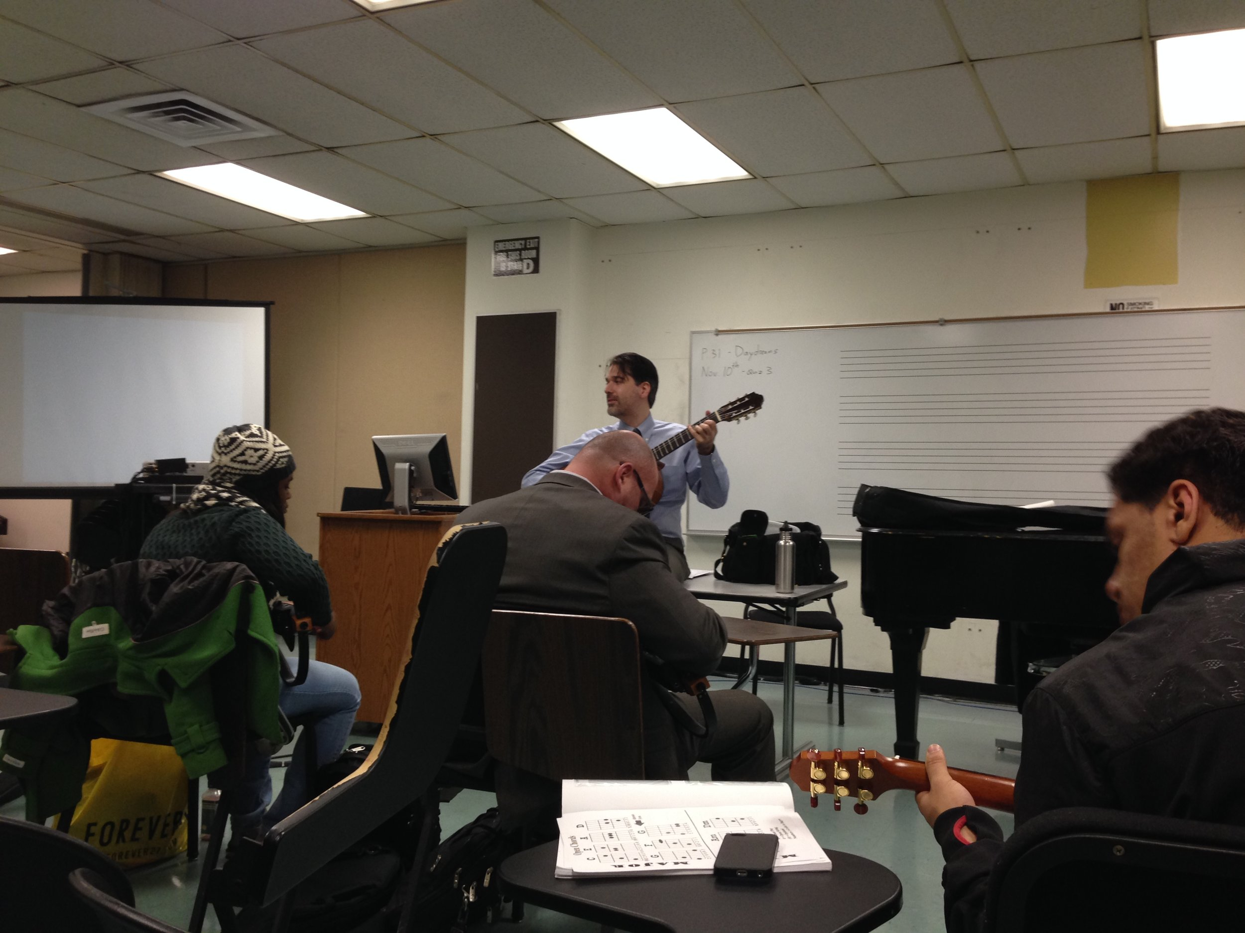 2014 - New York. I taught guitar class for a year at John Jay College of Criminal Justice. (Photo: Caroline Kessler)