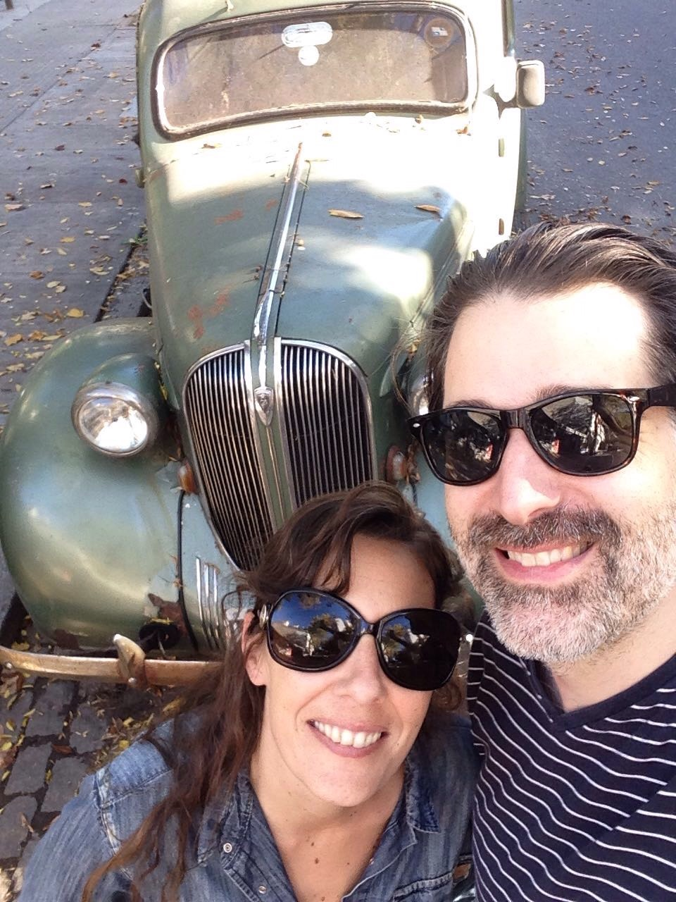 2017 - With Sol in Buenos Aires, and a classic car we found parked on the street.