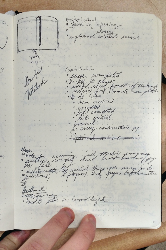 "A messy and largely illegible  handwritten page of design ideas for the ""Sonic Journal."""
