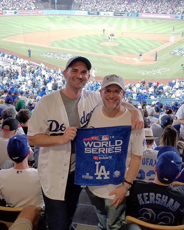 This is October baseball, two years in a row at epic #worldseries games with my dad! Last night was the longest #dodgers game I've ever been to and it was one for the record books: •Longest game in postseason history (7 hours 20 minutes) •Most innings in World Series history (18) •46 players used by both teams •18 pitchers used by both teams