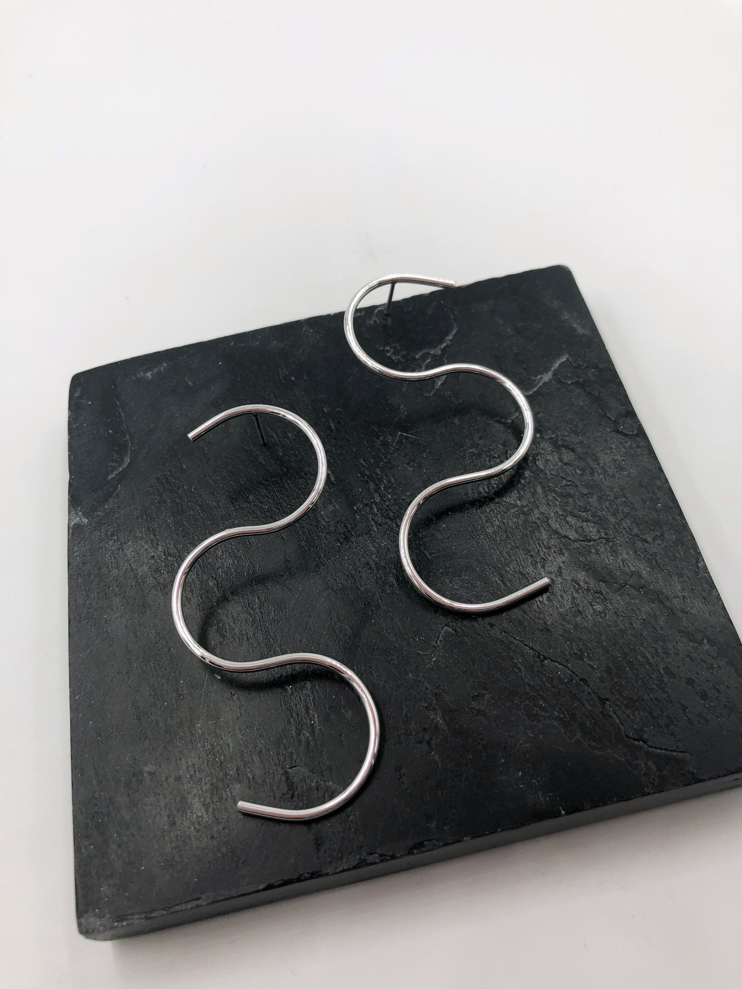 """Large Squiggle Post Earrings  Item #: E2000  Size: 2.5"""" in length  Wholesale Price: $19  Suggested Retail: $38"""