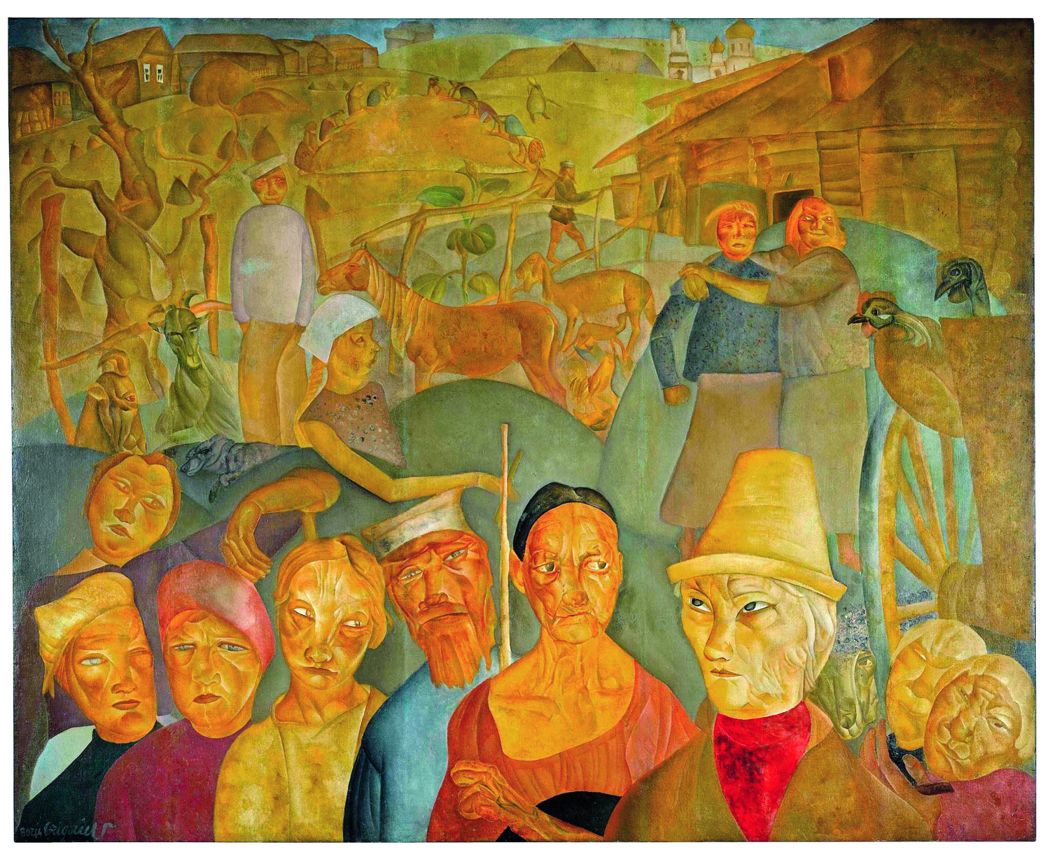 SOTHEBY'S LONDON - SEPTEMBER 18-19, 2007THE ROSTROPOVICH-VISHNEVSKAYA COLLECTION OF RUSSIAN ARTLOT 424 BORIS DMITRIEVICH GRIGORIEV, 1886-1939FACES OF RUSSIA1,500,000�2,000,000 GBP