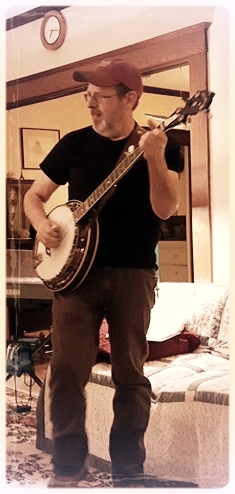 Mark Abare hosts a monthly Bluegrass Jam. He has a banjo and isn't afraid to use it!