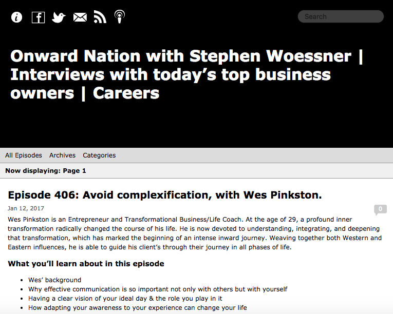 Onward Nation with Stephen Woessner | Interviews with today's top business owners - Episode 406: Avoid complexification, with Wes Pinkston.
