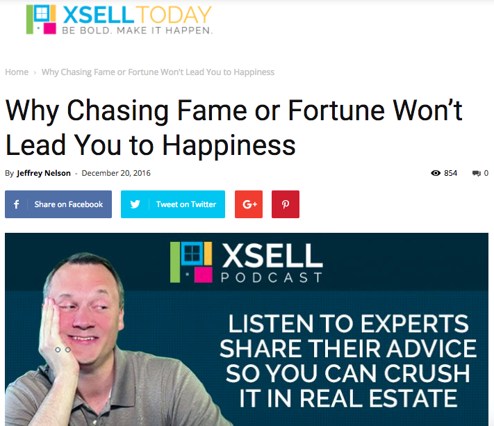 Why Chasing Fame or Fortune Won't Lead You to Happiness -