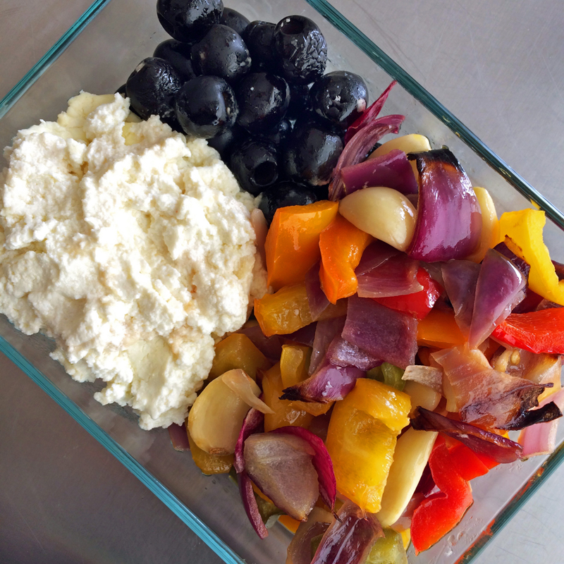 Roasted vegetables and goat cheese for easy keto dinner recipes. Easy keto dinner recipe for the ketogenic diet.