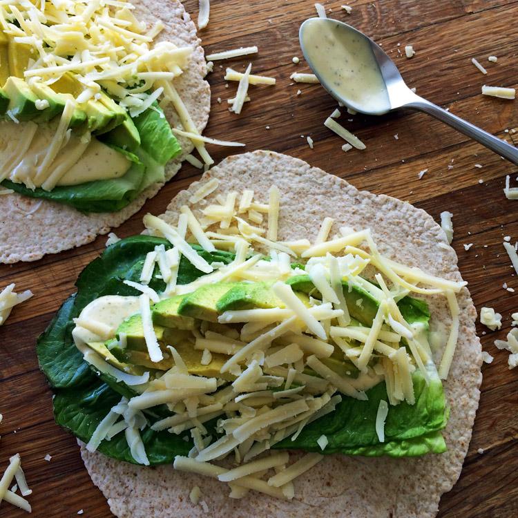 Keto wrap recipe and low carb wrap idea with avocado.
