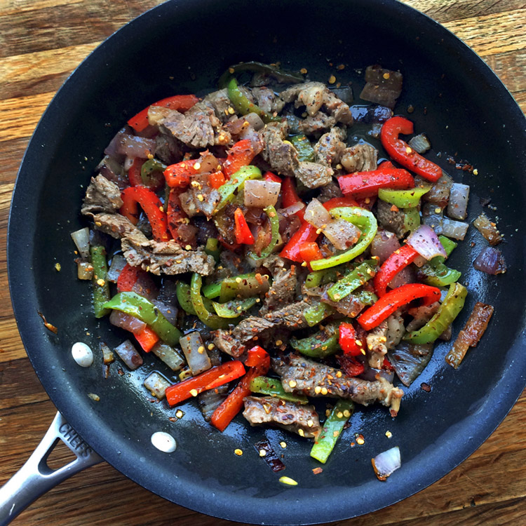 Steak and low carb ingredients for keto wraps. Make a low carb wrap with high fiber tortillas.