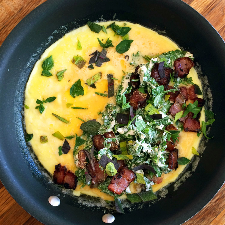Easy keto omelette recipe with cream cheese. Make this breakfast recipe on the ketogenic diet.