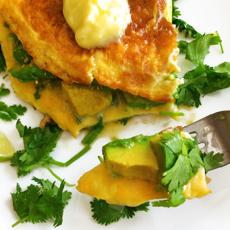 Best omelette recipe for the ketogenic diet. Use avocado, cilantro, and lime to make this easy breakfast recipe.