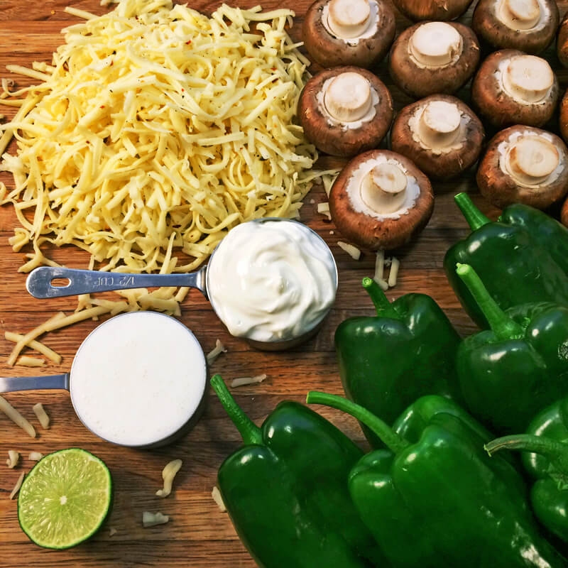 Keto chili rellenos recipe with low carb ingredients. Make these baked stuffed peppers on the keto diet.