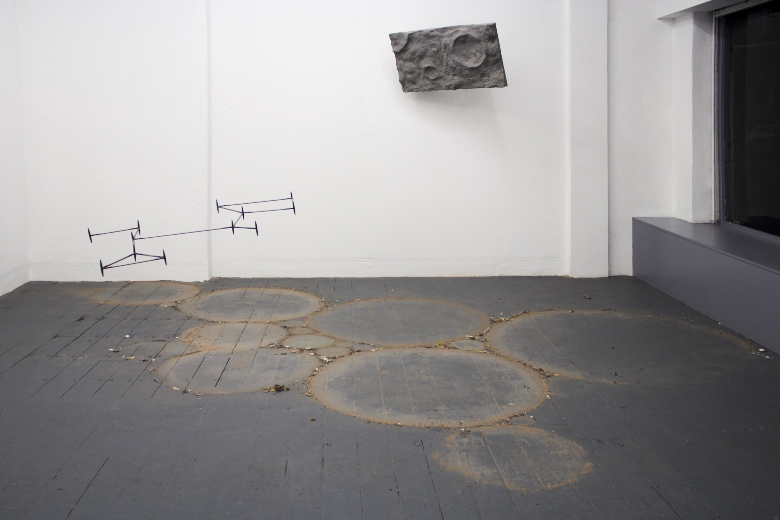 the dust on the floor is gathered from all the places that the artwork is installed, for instance this places include: the institute of contemporary arts london, the bluecoat during the liverpool biennial, the royal society of sculpture, chalton gallery london and my old studio in glasgow.