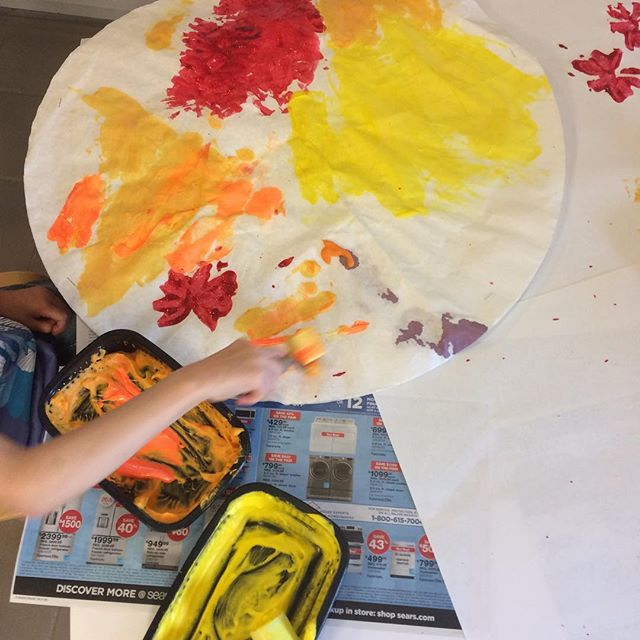 "Sun painting for our ""fire and ice"" theme summer camp ☀️"