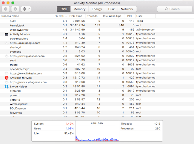 Apple's Activity Monitor, showing active processes.