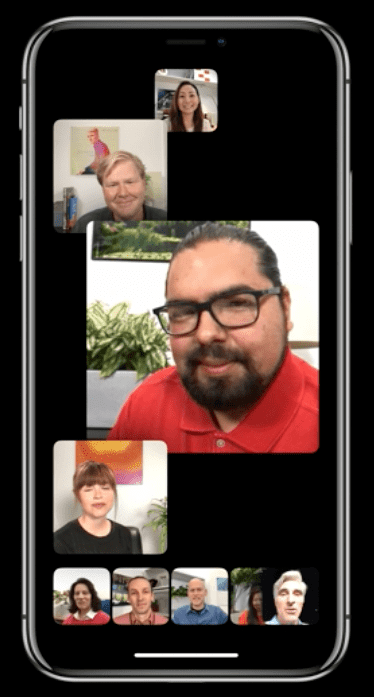 FaceTime's new UI, featuring active caller tiles.