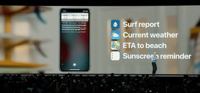 Craig Federighi explains possible voice commands with Siri.