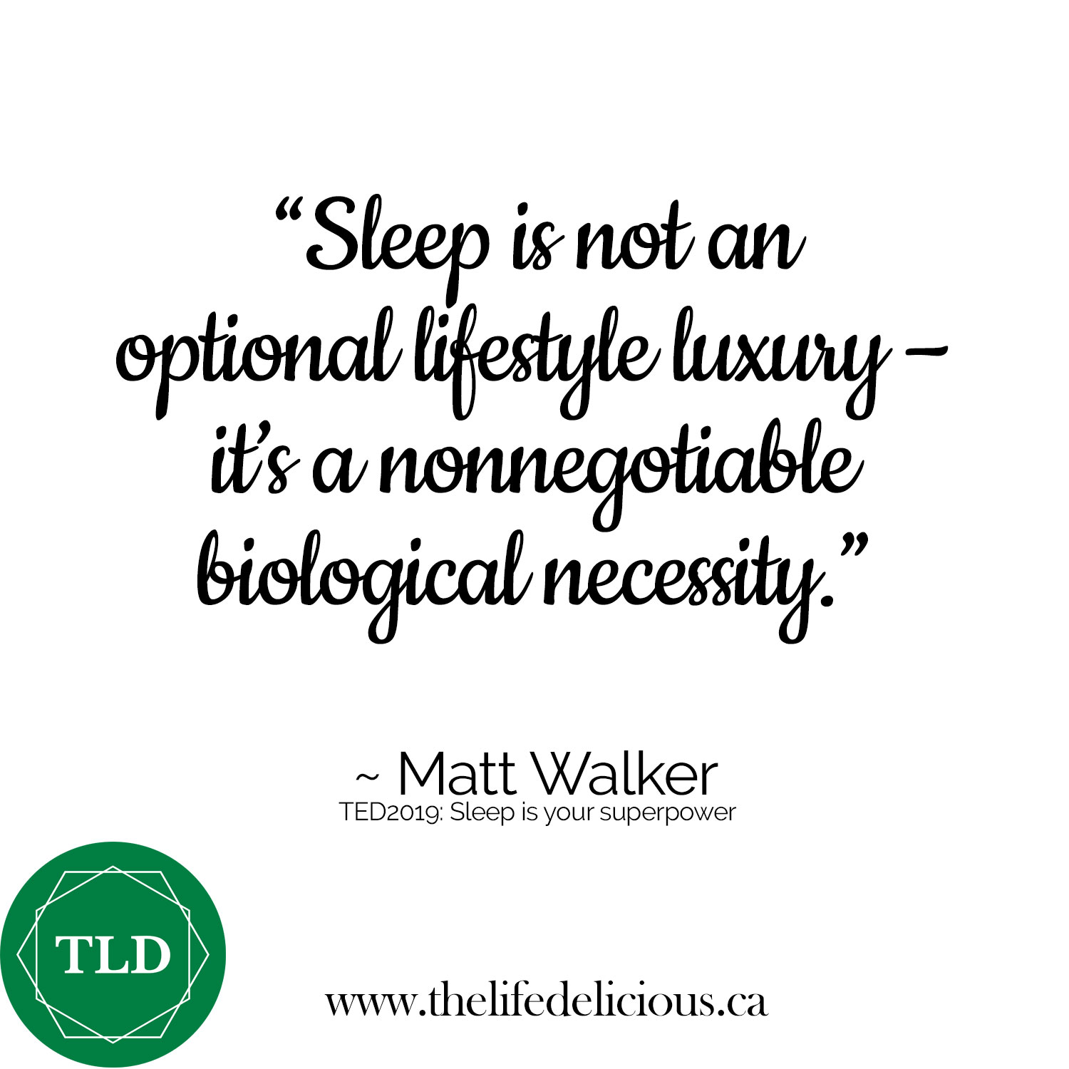 "SLEEP >>> ""What is the mission-critical statement here?"" asks author and neuroscience professor Matthew Walker at the close of his TEDtalk, Sleep is Your Superpower: ⁣⠀⠀⠀⠀⠀⠀⠀⠀⠀ ⁣⠀⠀⠀⠀⠀⠀⠀⠀⠀ ""Well, I think it may be this: sleep, unfortunately, is not an optional lifestyle luxury. Sleep is a nonnegotiable biological necessity. ⁣⠀⠀⠀⠀⠀⠀⠀⠀⠀ ⁣⠀⠀⠀⠀⠀⠀⠀⠀⠀ ""It is your life-support system, and it is Mother Nature's best effort yet at immortality. And the decimation of sleep throughout industrialized nations is having a catastrophic impact on our health, our wellness, even the safety and the education of our children. ⁣⠀⠀⠀⠀⠀⠀⠀⠀⠀ ⁣⠀⠀⠀⠀⠀⠀⠀⠀⠀ ""It's a silent sleep loss epidemic, and it's fast becoming one of the greatest public health challenges that we face in the 21st century. ⁣⠀⠀⠀⠀⠀⠀⠀⠀⠀ ⁣⠀⠀⠀⠀⠀⠀⠀⠀⠀ ""I believe it is now time for us to reclaim our right to a full night of sleep, and without embarrassment or that unfortunate stigma of laziness. And in doing so, we can be reunited with the most powerful elixir of life.""⁣⠀⠀⠀⠀⠀⠀⠀⠀⠀ ⁣⠀⠀⠀⠀⠀⠀⠀⠀⠀ Watch the video here:  https://www.ted.com/talks/matt_walker_sleep_is_your_superpower ⁣⠀⠀⠀⠀⠀⠀⠀⠀⠀ ⁣⠀⠀⠀⠀⠀⠀⠀⠀⠀ Here's to our being reunited with the most powerful elixir of life, starting tonight!!⁣⠀⠀⠀"