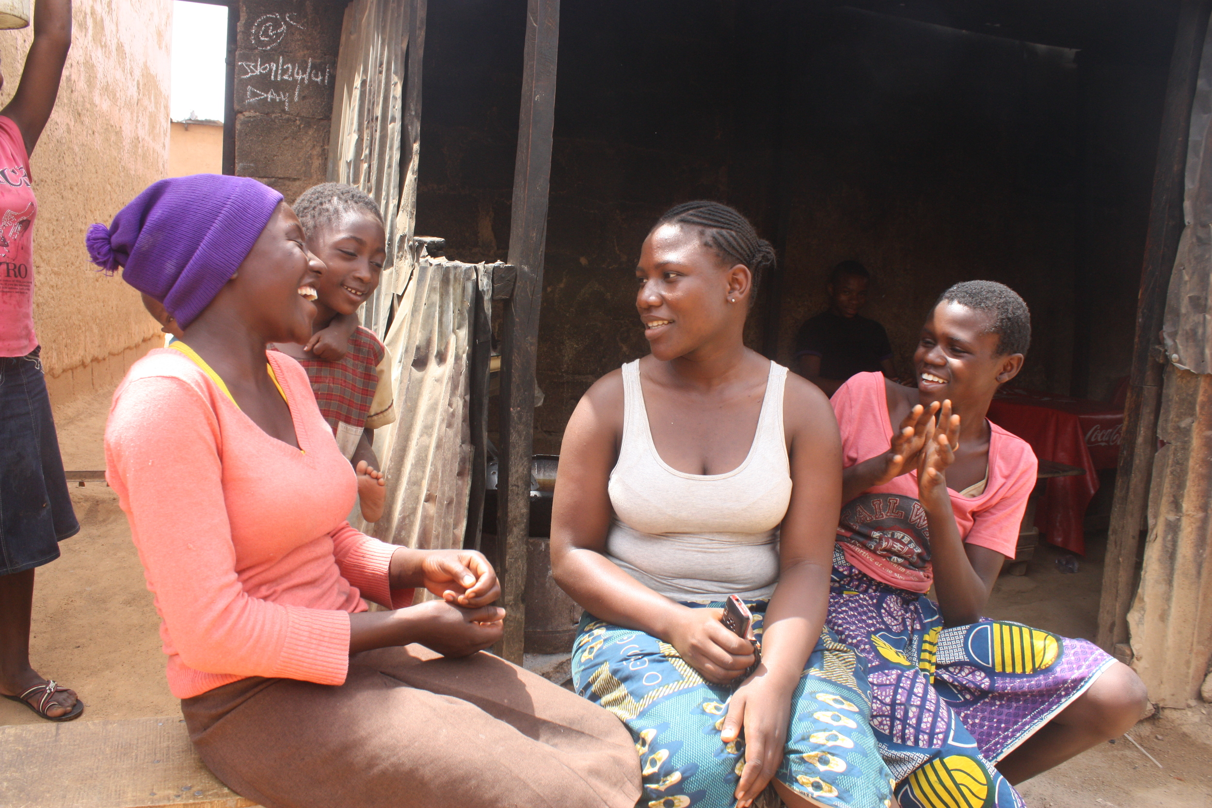 Young ladies talking at a local restaurant in Jos.JPG