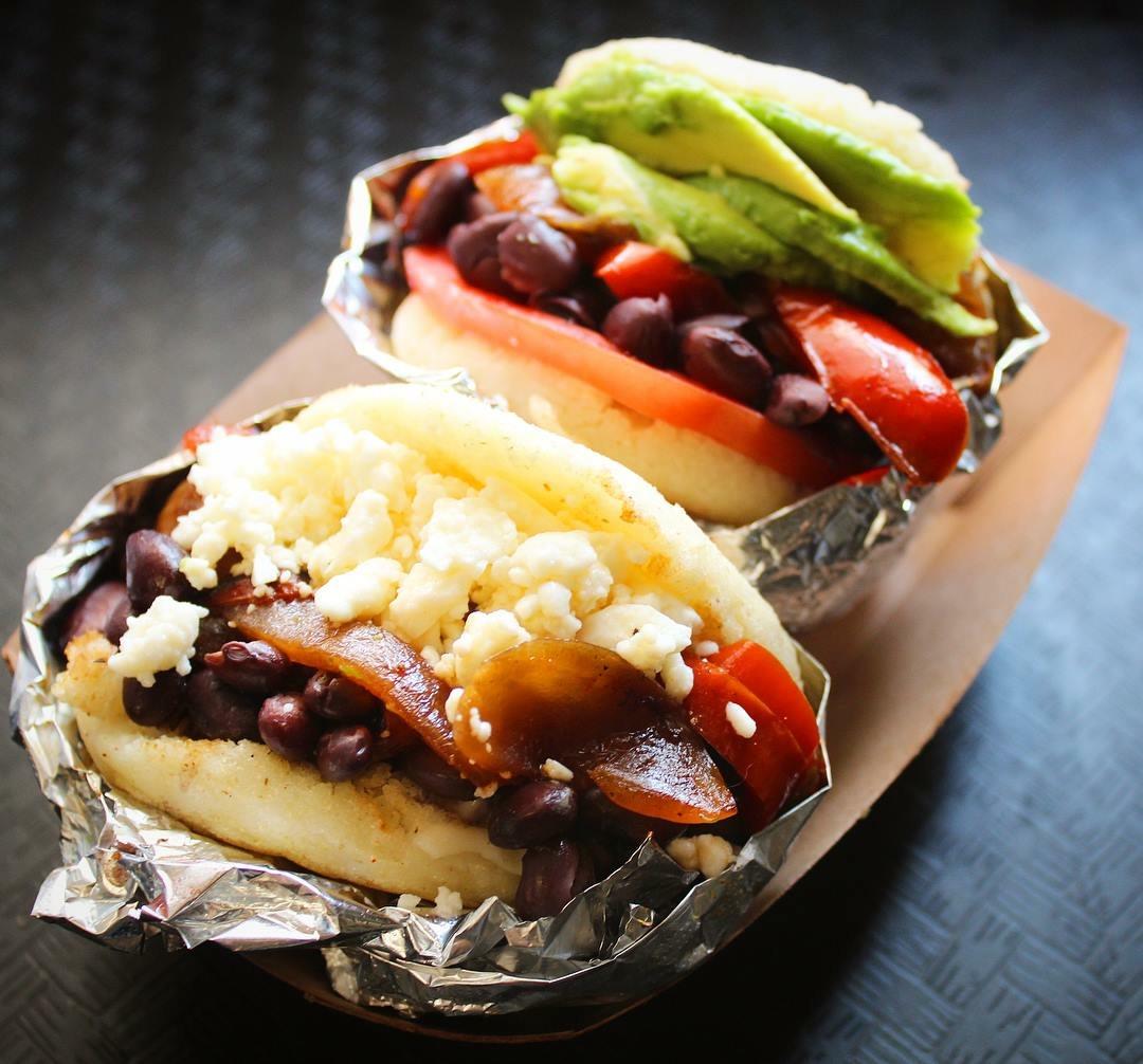 "NEW! Our Specialty Vegetarian & Vegan Arepa: ""La Dominó"""