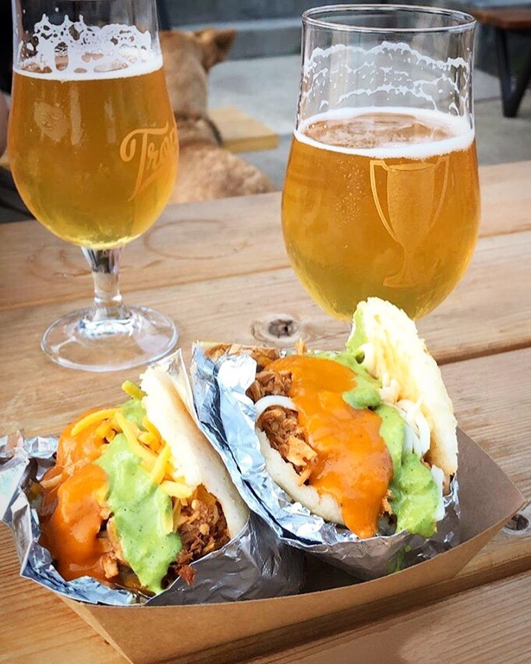 trophy beer & 2 arepas with sauces.jpg