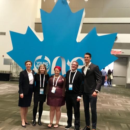 L-R: Dr. Kellie Leitch, MP; Alyssa Frampton; Alicia Raimundo, Irwin Elman and Martin Reader