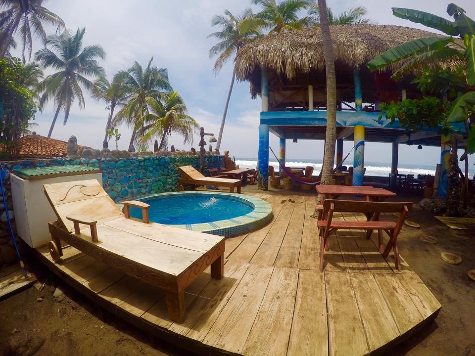 Splash pool and sunbathing