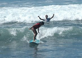 Learn-To-Surf class at El Zonte