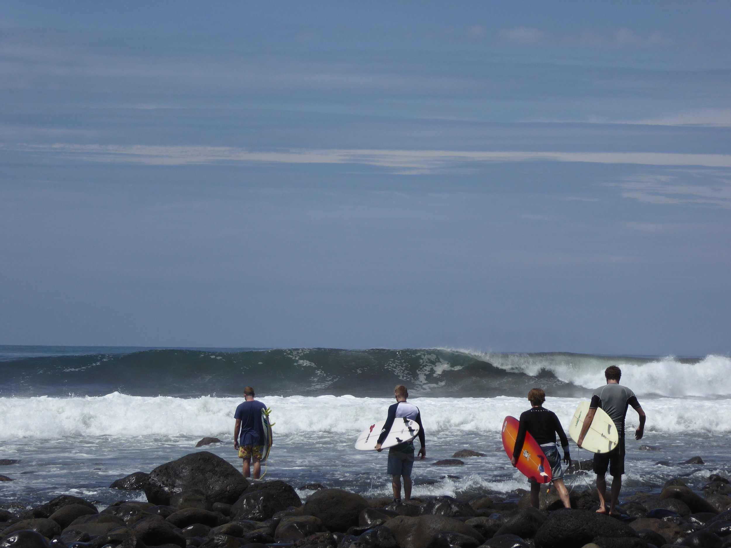 Mike and group of surfers - Punta Roca, El Salvador