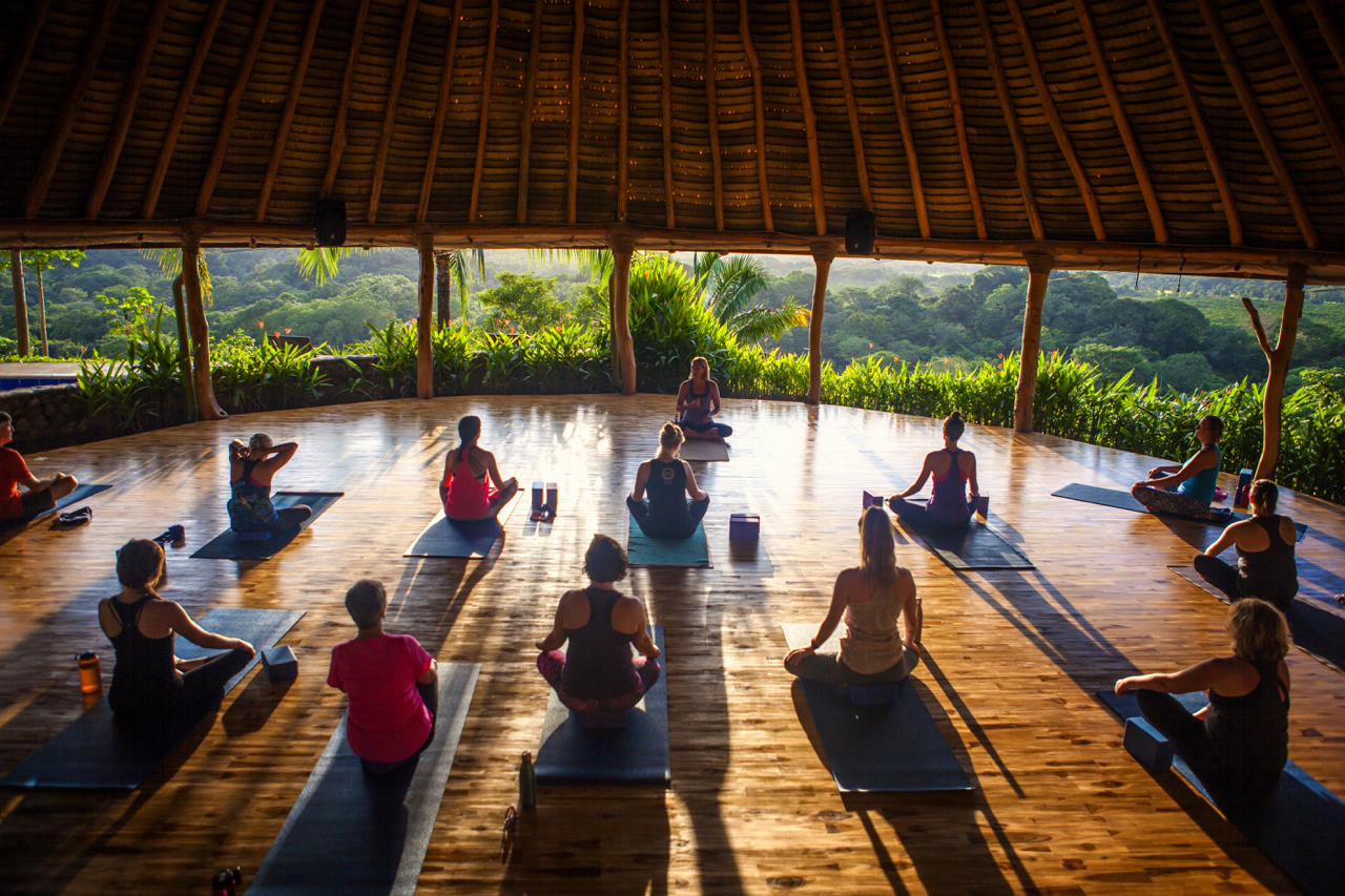 Yoga every morning & evening overlooking the lush jungle. Music provided by birds and monkeys.