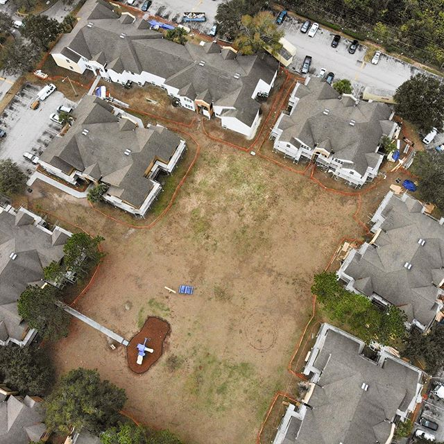 Today we walked one of our biggest jobs this year, right in Orlando, FL! Here's a drone shot above the courtyard in the midst of a lot of work. #construction #renovation #exteriorrenovation #floridaconstruction #apartmentrenovation