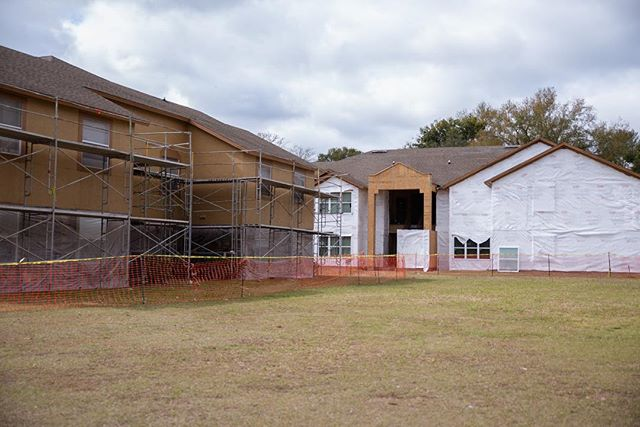 A look at some very important parts of an exterior renovation process. #scaffolding #tyvek #demo