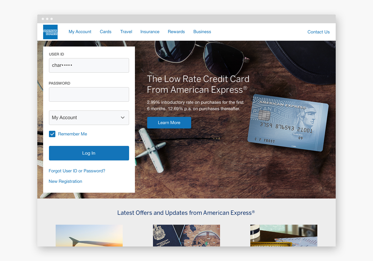 Example of the American Express redesign using the American Express Design Language System.