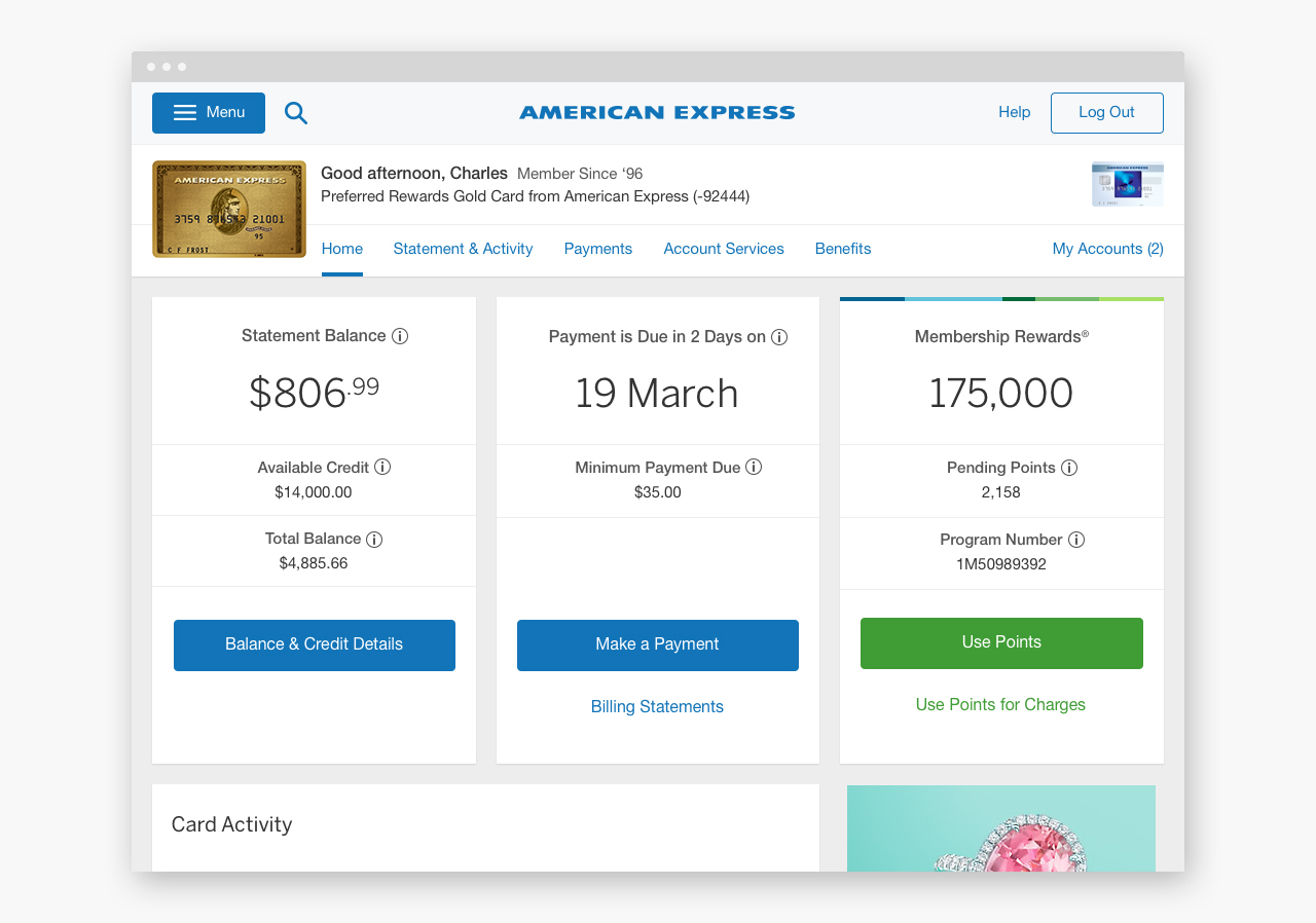 Example of a Card Member's authenticated home screen using the American Express Design Language System.
