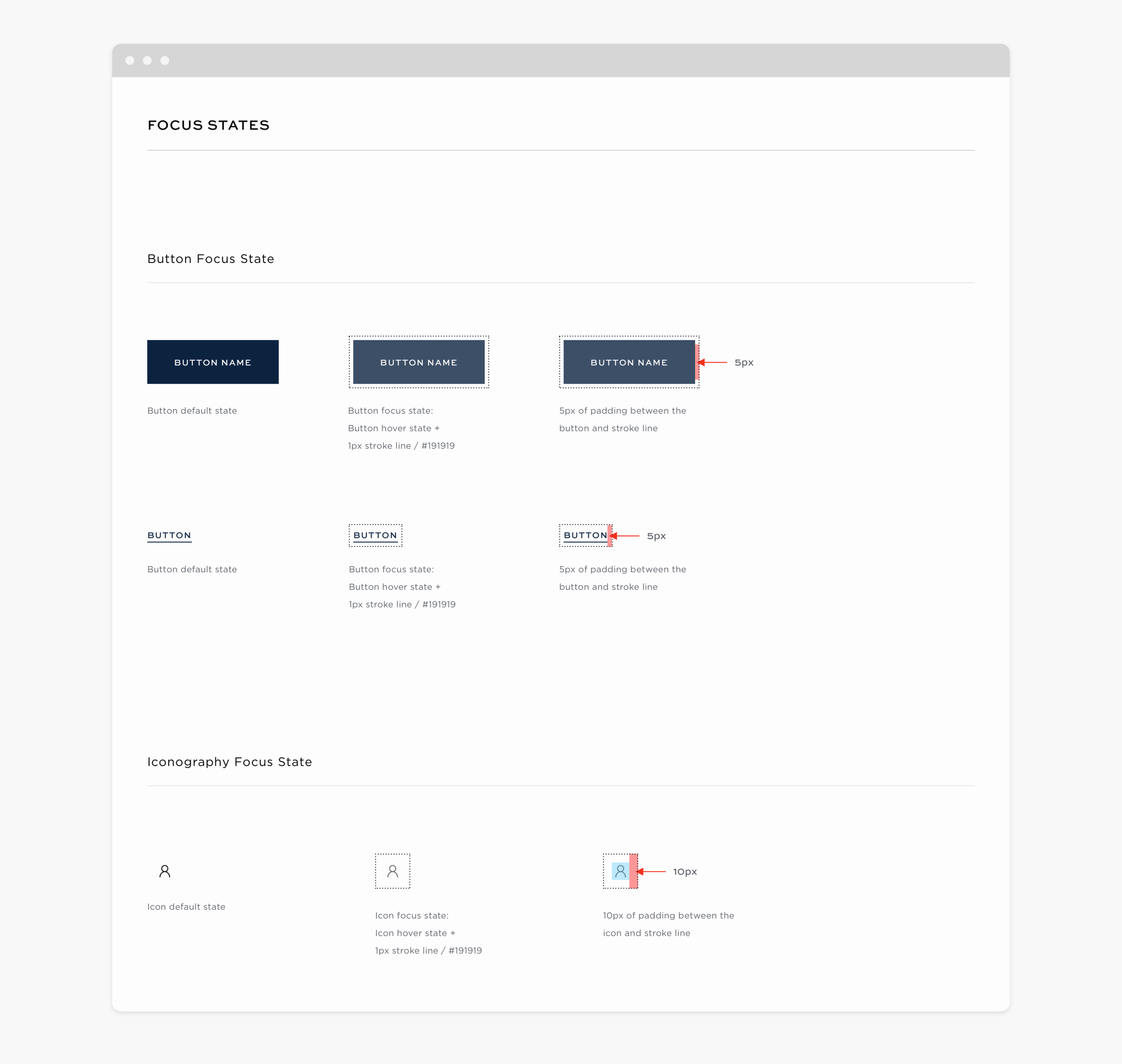 Example of the interactive design system, specifically the focus states for buttons, text links, and icons.