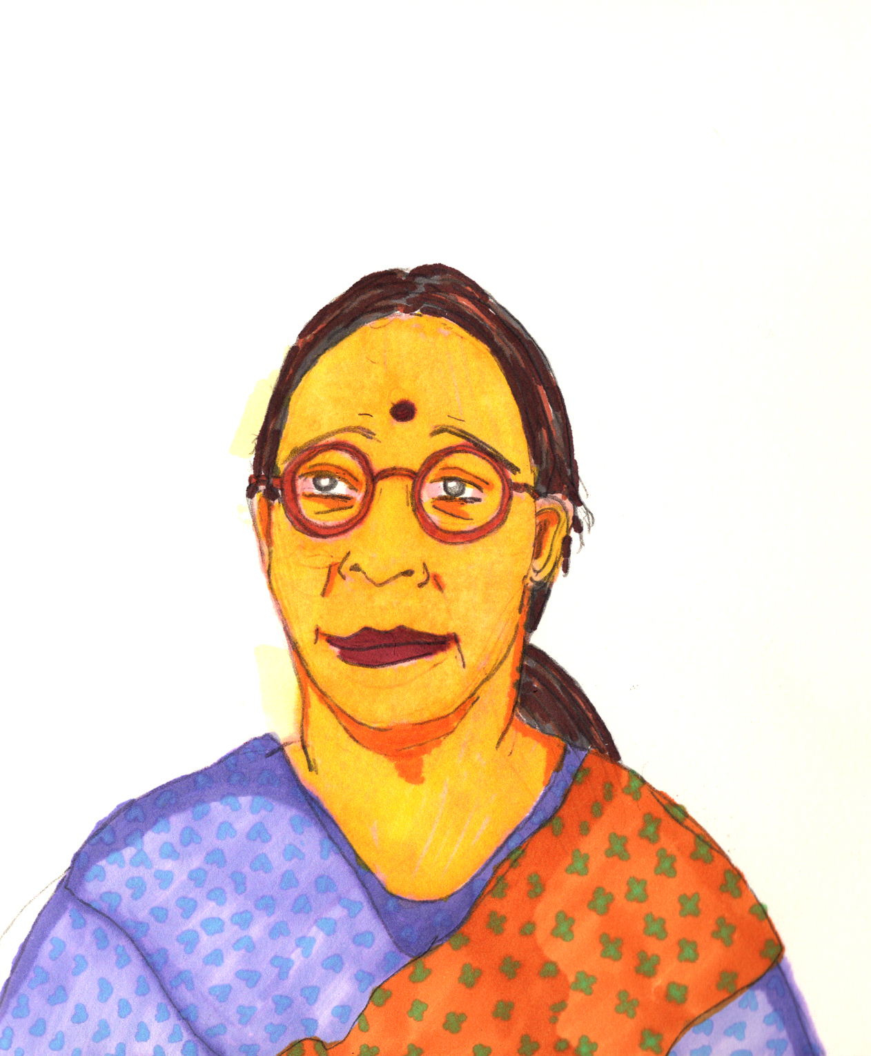 Sketchbook from a motherland trip to India: Tejashree Aunty, 2018-19.