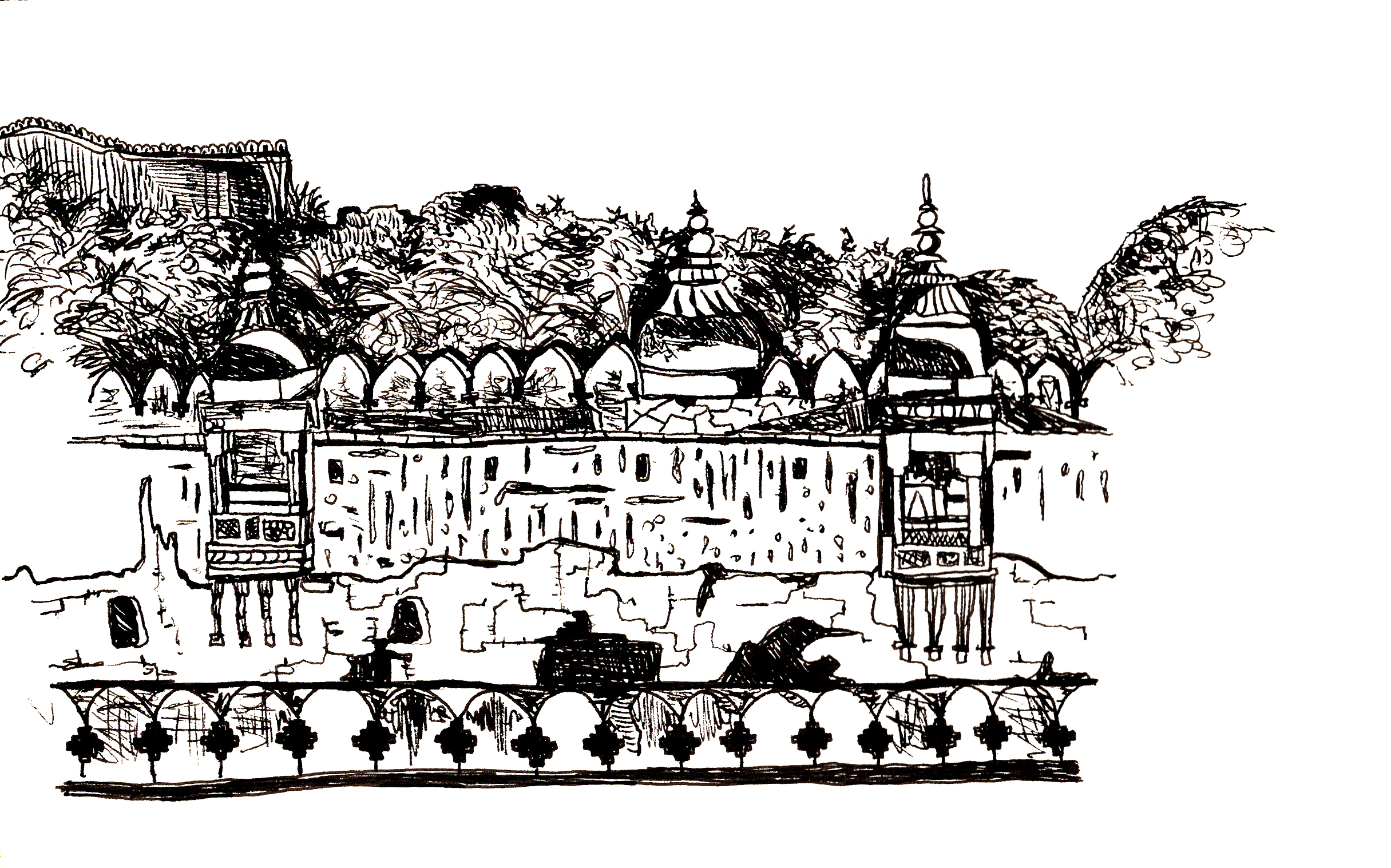 Sketchbook from a motherland trip to India: Amer Fort, Rajasthan, 2018-19.