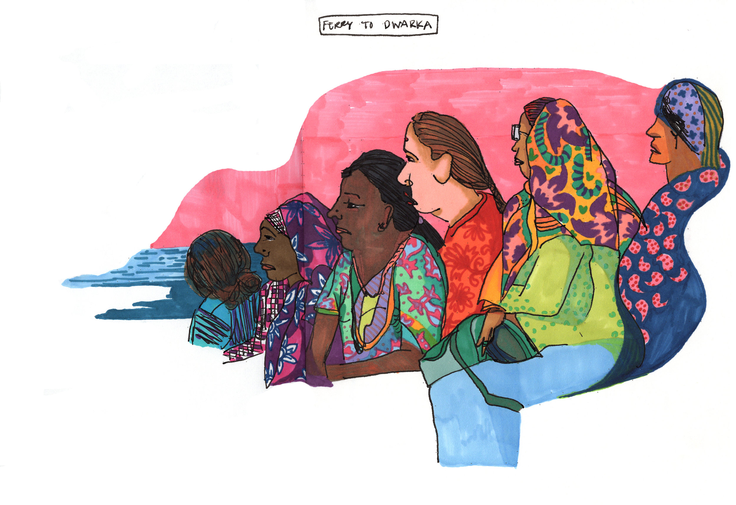 Sketchbook from a motherland trip to India: Ferry to Dwarka, Gujurat, 2018-19.