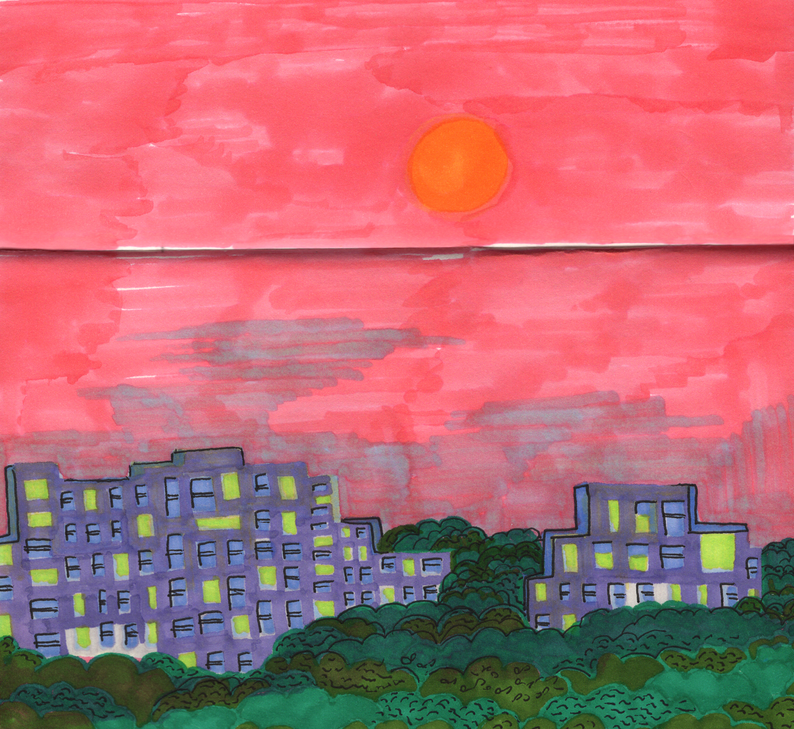 Sketchbook from a motherland trip to India: Sunset drive, Mumbai, 2018-19.