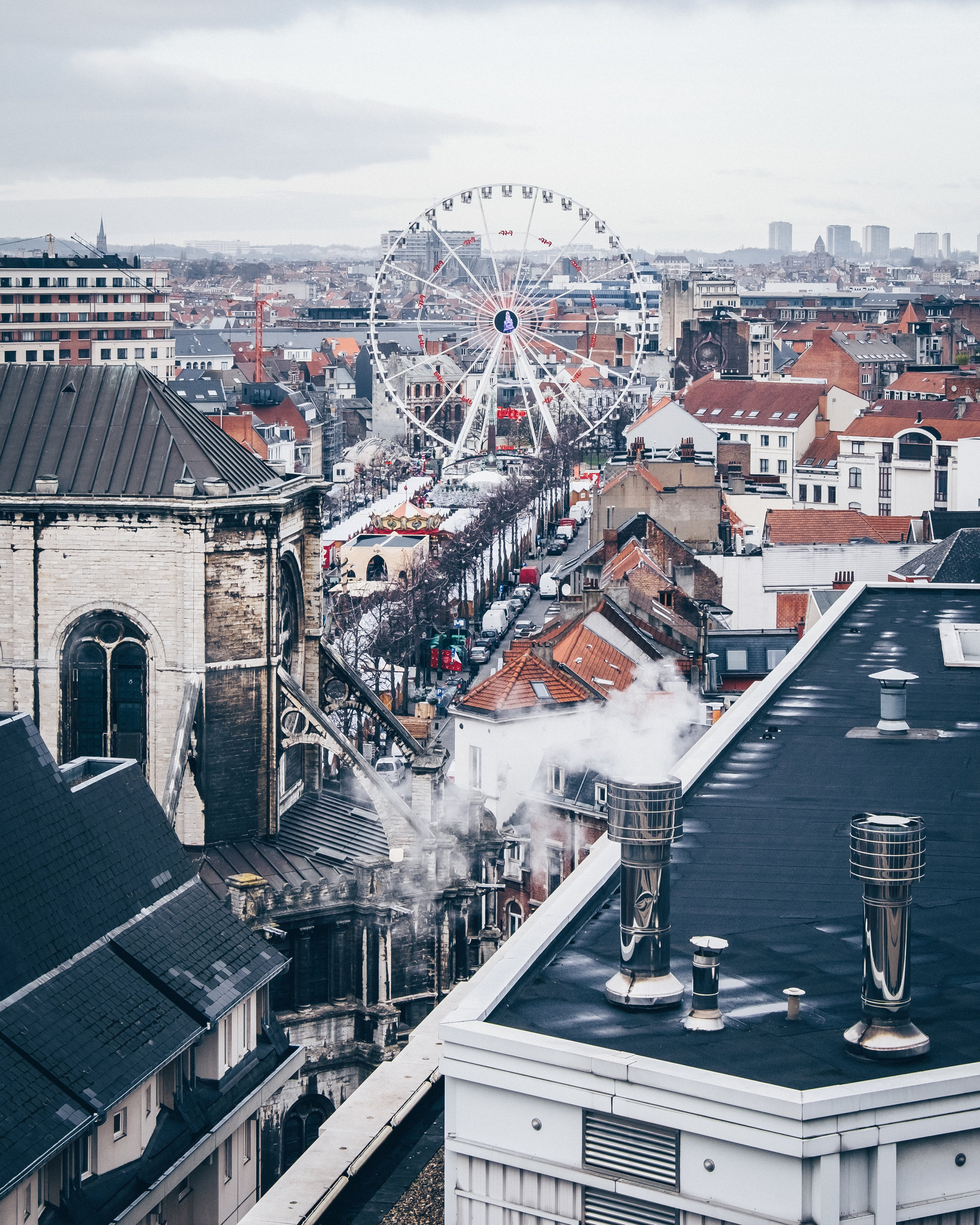 Rooftops and Christmas market, Brussels