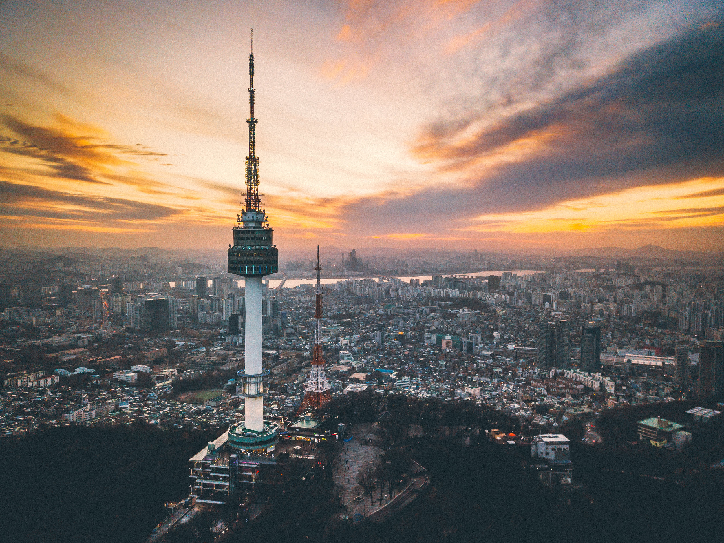 Sunset with N Seoul Tower