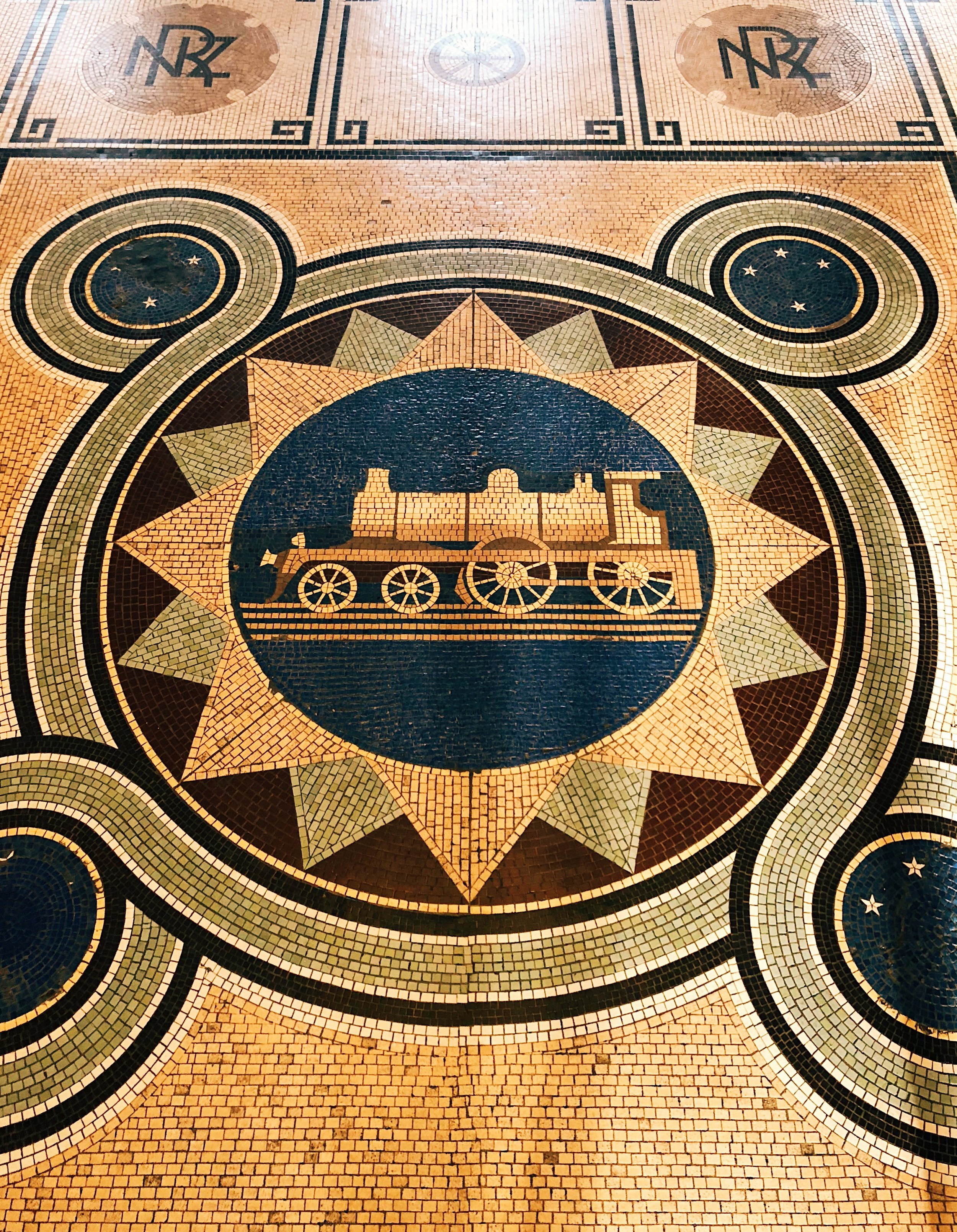 Tiles on the floor of Railway Station