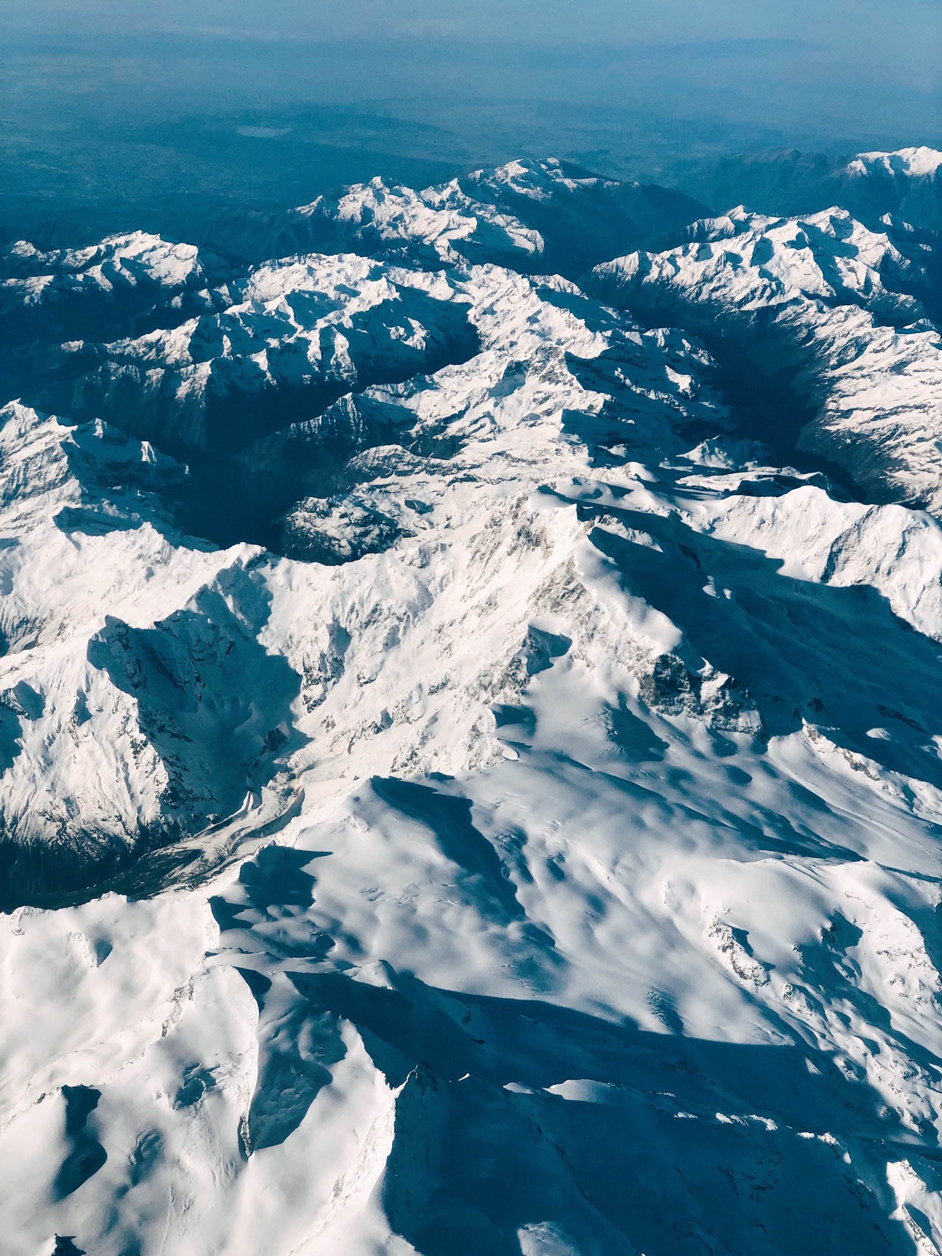 Mont Blanc Alps from Air Mauritius plane