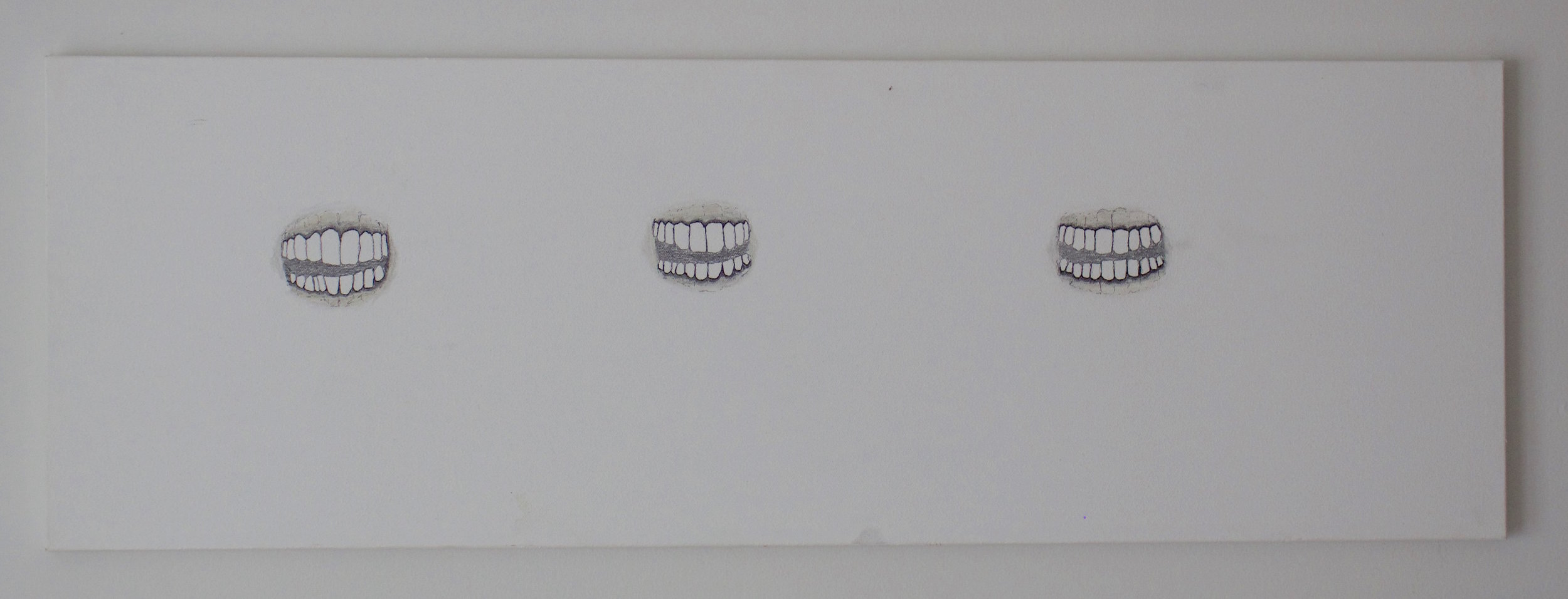Teeth,  2016 Pencil and charcoal on canvas 12 x 36 inches