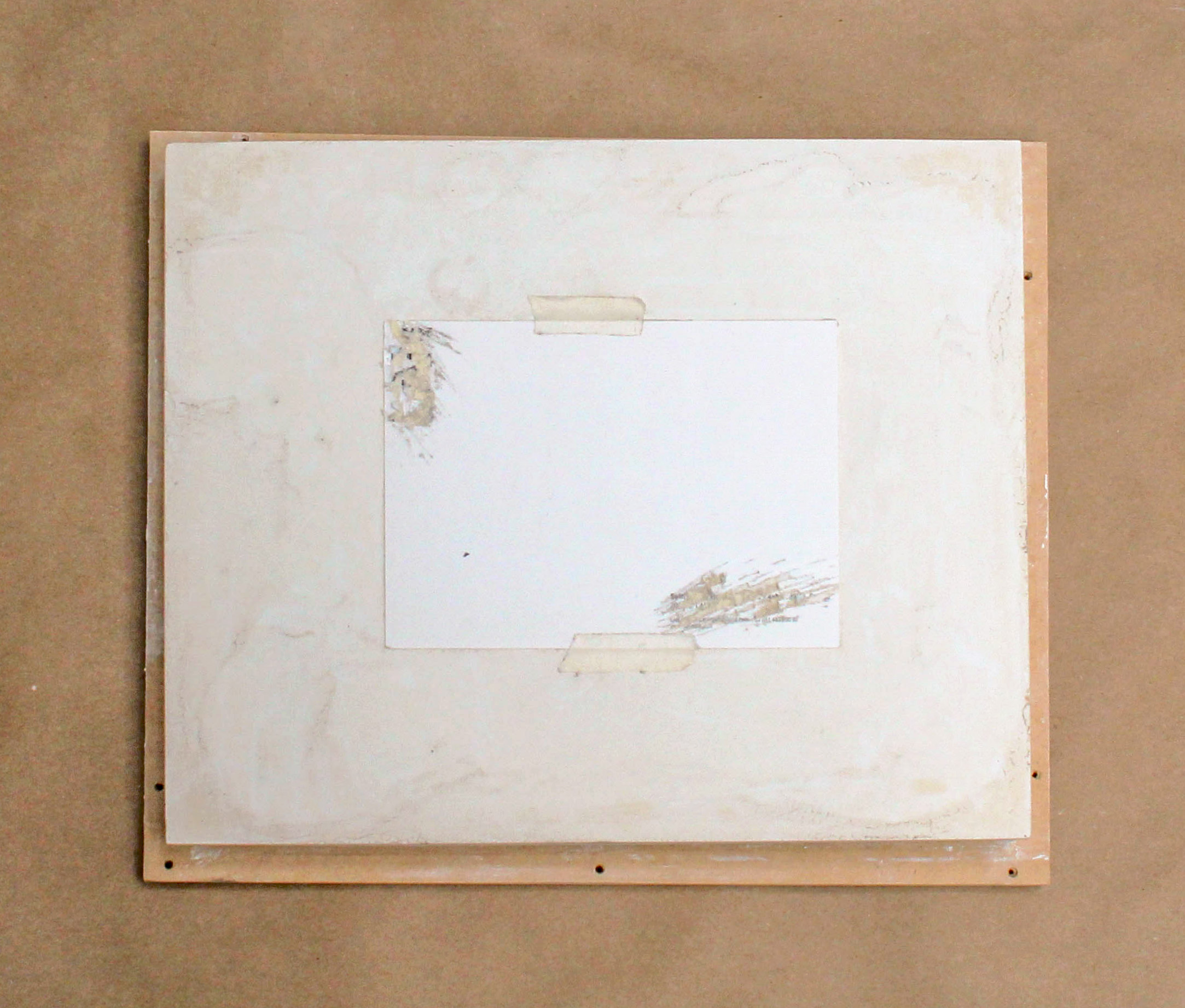 Study for the Structure of the Presentation of a Place , 2016, Plaster, postcard, masking tape, mdf panel, craft paper, 10x12 in., Detail